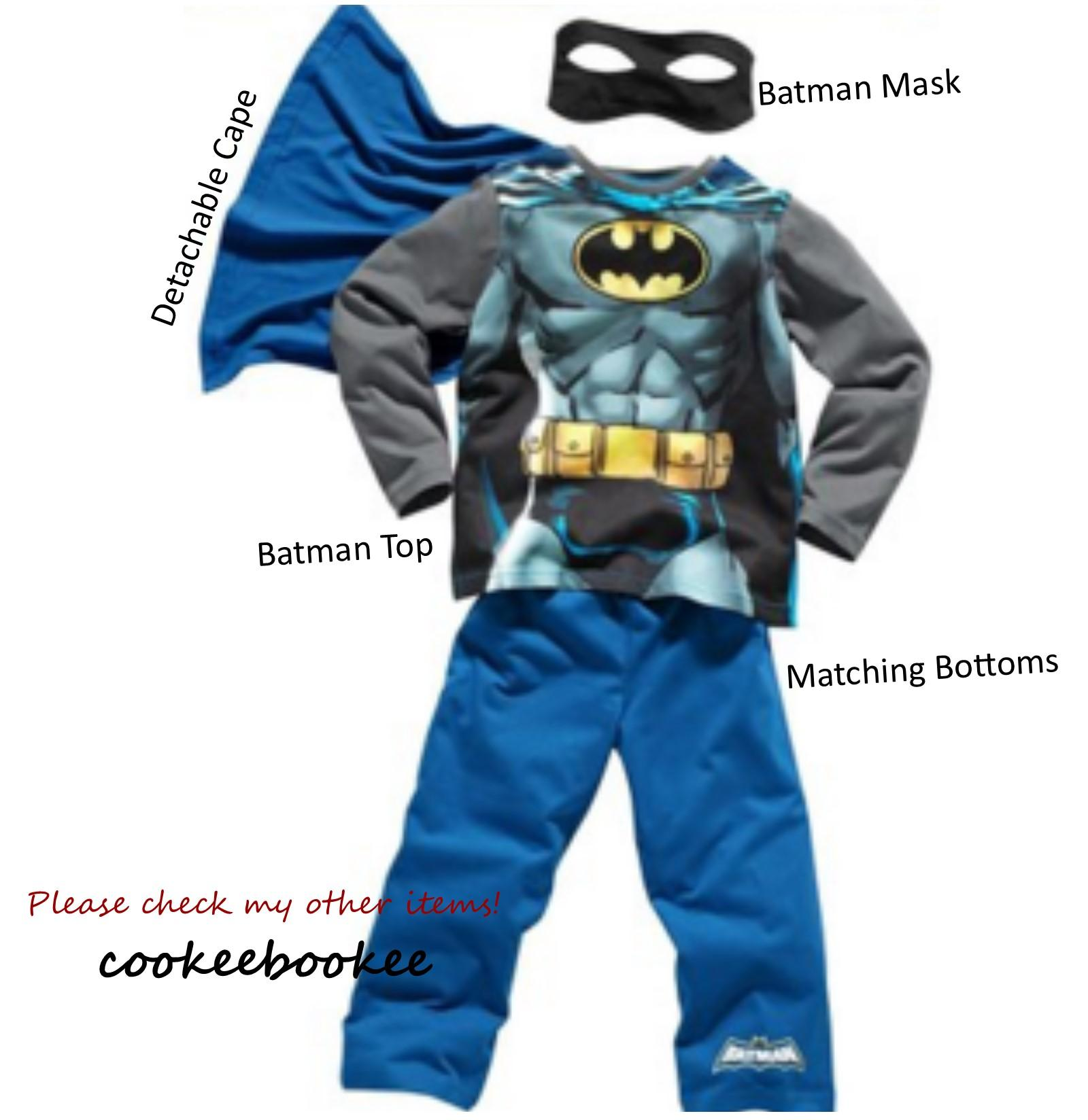 64fd4f33269 BATMAN COSTUME   Pyjamas   Pajamas COMPLETE GIFT SET   Long sleeve top  shirt   Pants