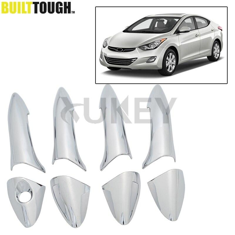 Fit For Hyundai ELANTRA 2011 2012 2013 2014 2015 Chrome Side Door Handle  Bar Cover Catch Trim Molding Cap MOULDING Bezel