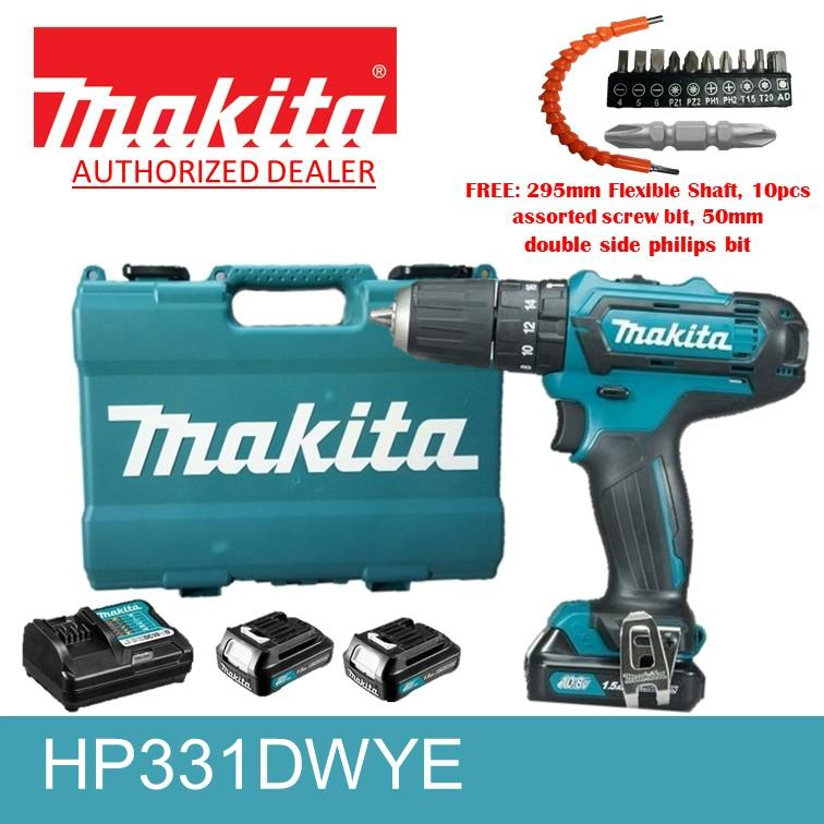 Makita HP331DWYE Cordless Hammer Drill with 2 pcs 12V Lithium ion  batteries, flexible shaft, 10 pc screwbits and double sided philips bit