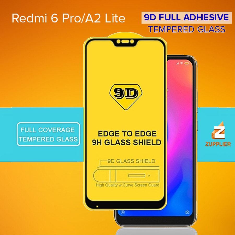 Xiaomi Mi A2 Lite / Redmi 6 Pro 5D 9D Technology Full Adhesive Full  Coverage Tempered Glass (Black)
