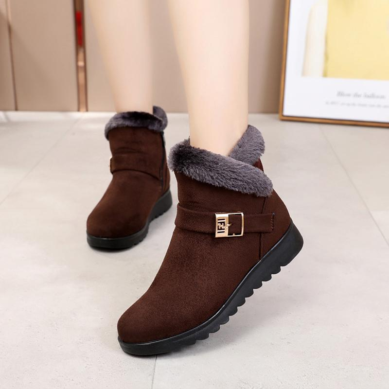 2018 Winter New Style Cotton Boots Middle-aged Mom Cotton-padded Shoes Hair  Mouth f860fe421271