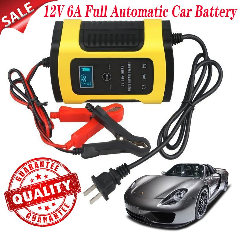 12V6A Motorcycle Car Starters Battery Charger Full Intelligent Universal  Repair Type Lead Acid Storage Charger