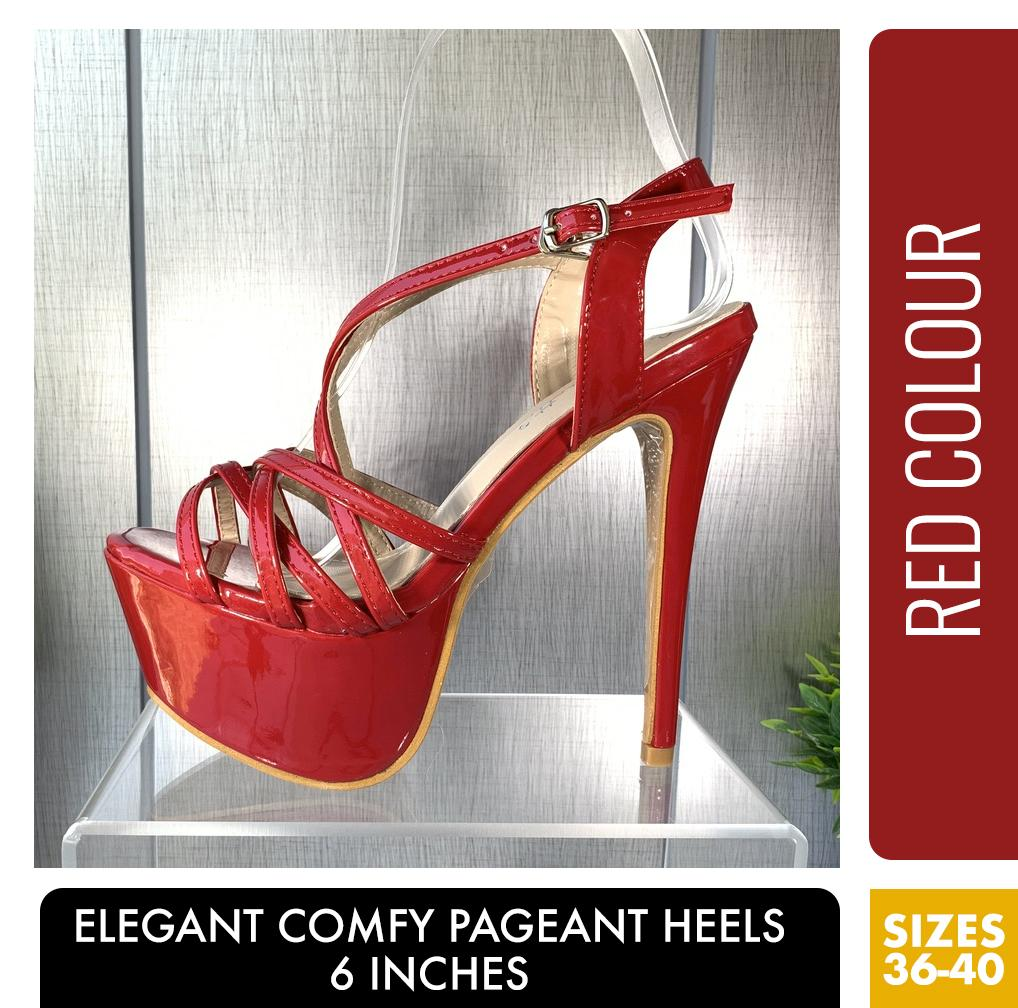 ELEGANT COMFY PAGEANT HEELS RED COLOUR