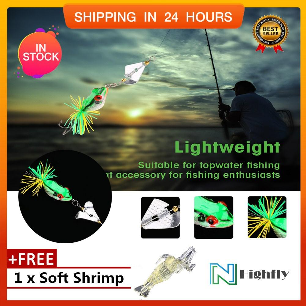 【Free Gift】1Pc Artificial Lifelike Fishing Lures Frog Baits with Propeller  Topwater Accessory (Green) - intl