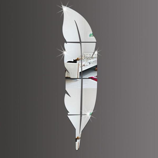 DIY Acrylic Mirror Silver Modern Style Wall Stickers Feather Mirror giá rẻ