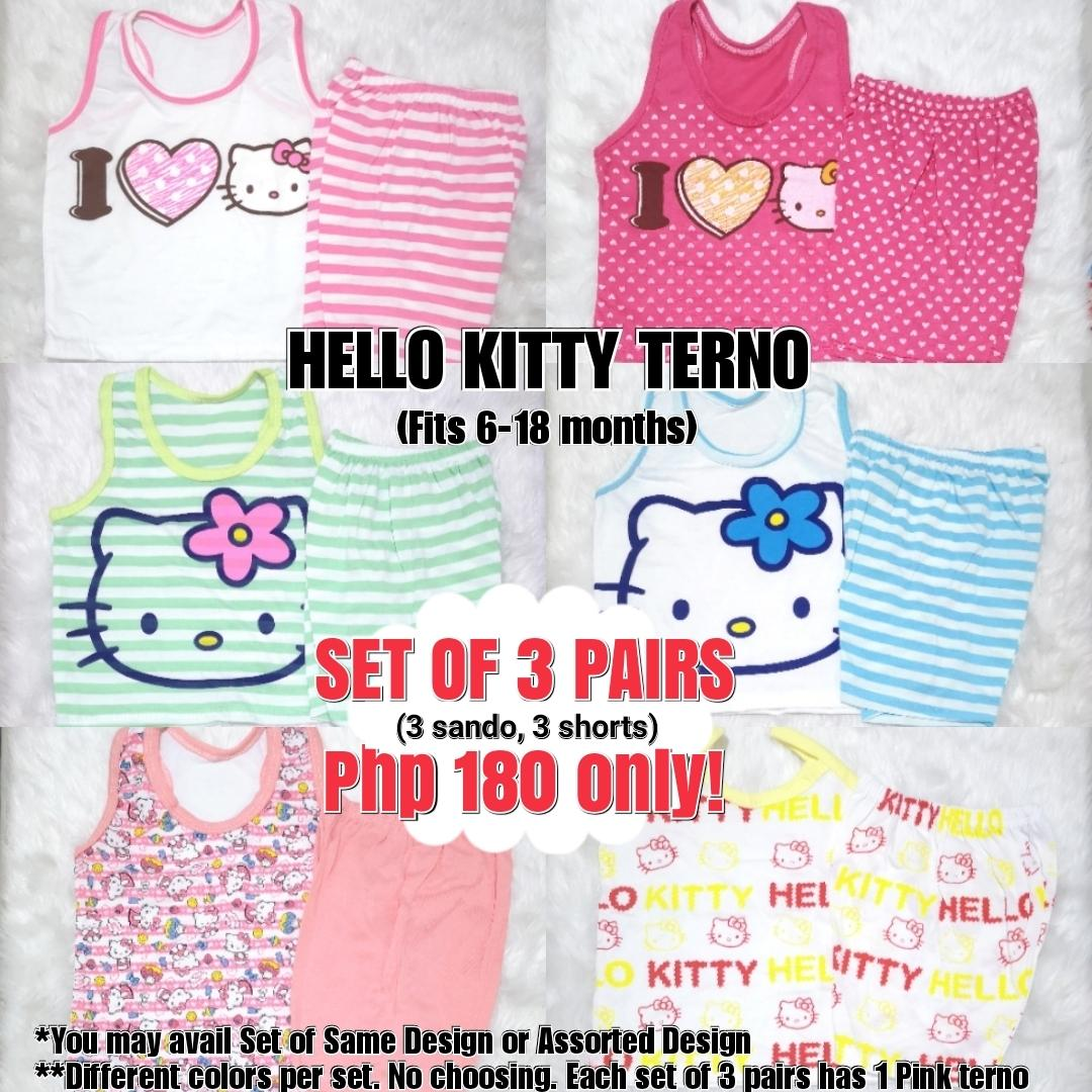 The Baby Shop Ph 6pcs Or 3 Pairs Baby Girls Assorted Hk Hellokitty Cute Sando And Shorts Basic Terno Set Affordable Pambahay Cotton 0-18 Months Girls Top And Short (set Of 3 Terno) By Thebabyshopph.