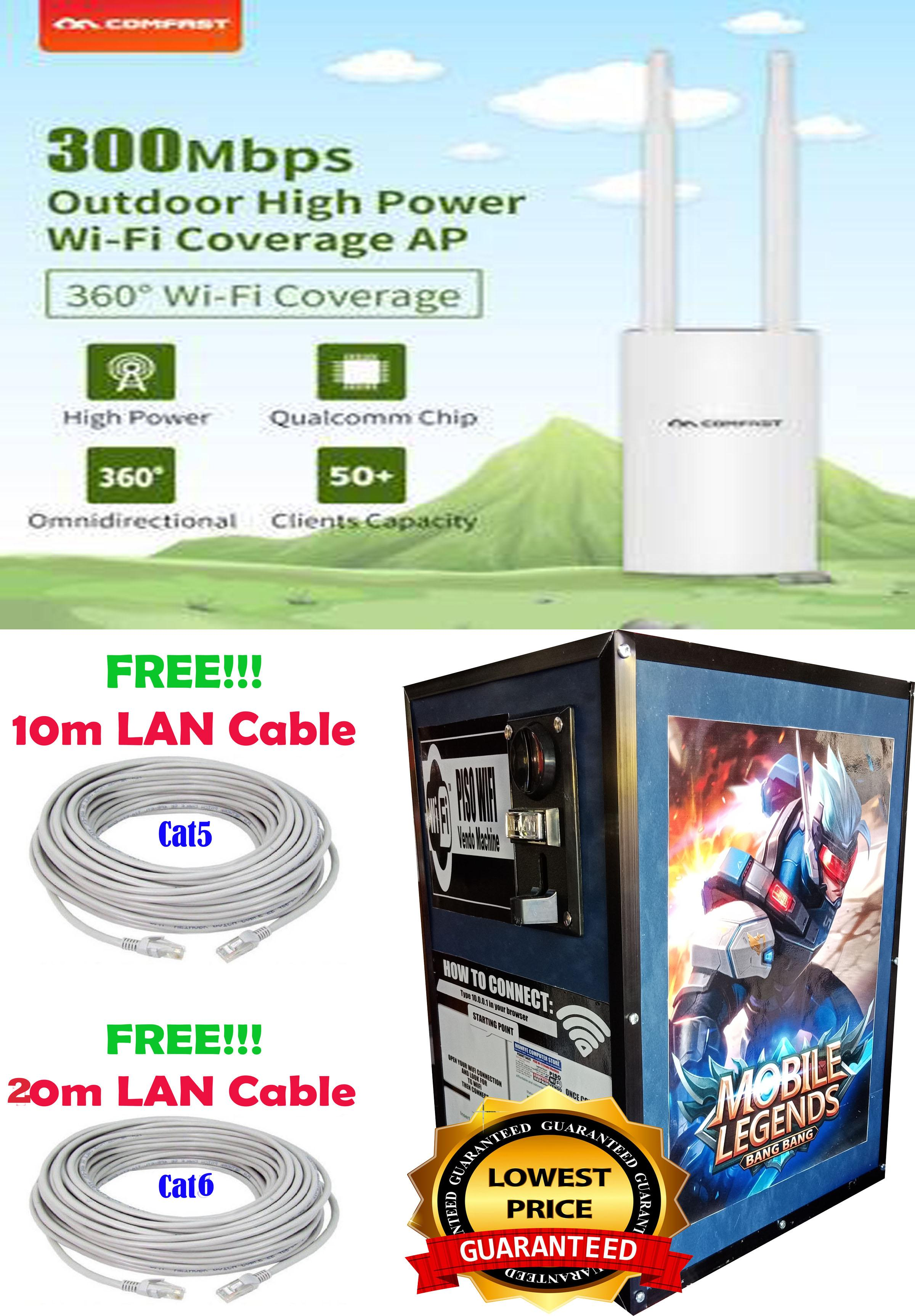 Piso Wifi with Outdoor Antenna 300meters FREE 2 Tarpaulin with Piso Wifi  Sign and Instructions