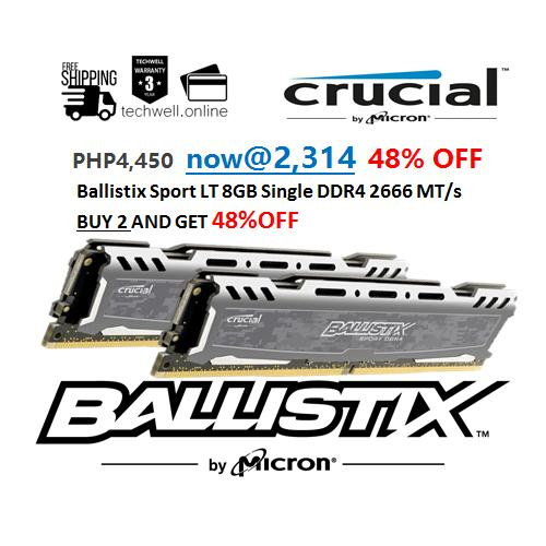 Ballistix Sport Lt 8gb Single Ddr4 2666 Mt/s (pc4-21300) Cl16 Ram 2x 8gb By Techwell.
