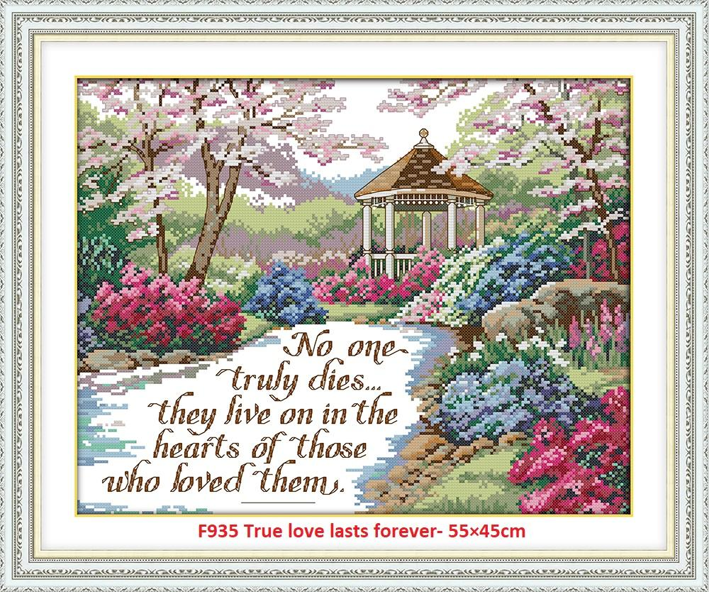 True Love Lasts Forever Stamped/printed Cross Stitch Complete Set By Stamped To Stitch.