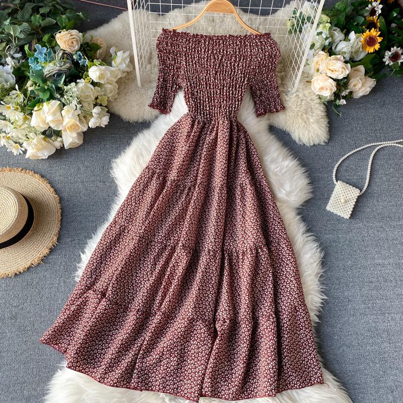Du Lịch Thái Lan Du Lịch Váy Ins Nhỏ Tâm Cơ Quây Đàn Hồi Bó Eo Tôn Dáng Ngọt Ngào Hoa Nhỏ Dáng Dài Đầm