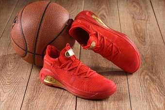 Flash Sale ขายดีคลาสสิก Under_Armour_Curry 6 LOW สีแดงสดสีทองผู้ชายรองเท้าบาสเก็ตบอลรองเท้ากีฬา-
