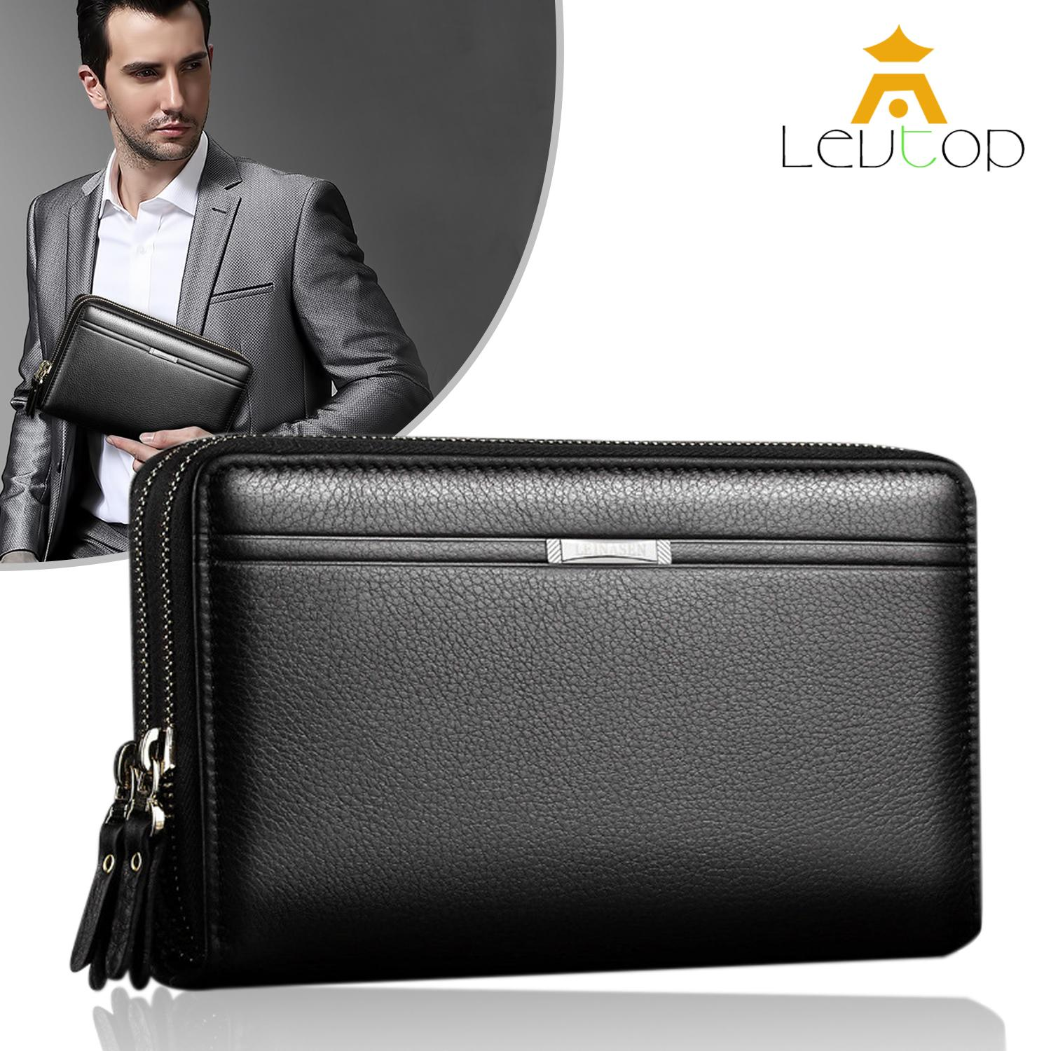 LEVTOP Men Fashion Wallet PU Leather Mens Hand Bag Business Long Clutch Purse Handbag for Phone Double Zipper Bag Male Coin Money Bags Card Holder Christmas Gift