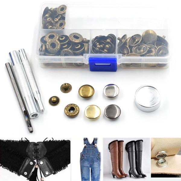 Mua Xinyi3 công cụ đặt nút quần jean 30 bộ Quần jean Nút trang trí Đinh tán Nút kim loại Nút chụp 15mm + Dụng cụ cài đặt thủ công Phụ kiện tự làm đóng hộp