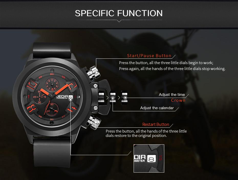 [100% Authentic] JEDIR Brand Men's Multi-function Sport Quartz Watches Chronograph Small Dial Work - thumbnail