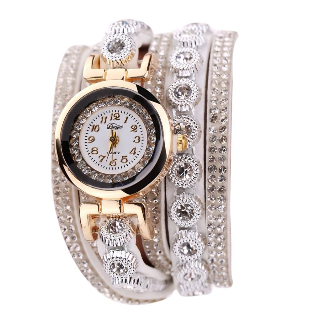 Duoya Leather Bracelet Watch Women Casual Rhinestone Quartz Bracelet Watch Malaysia