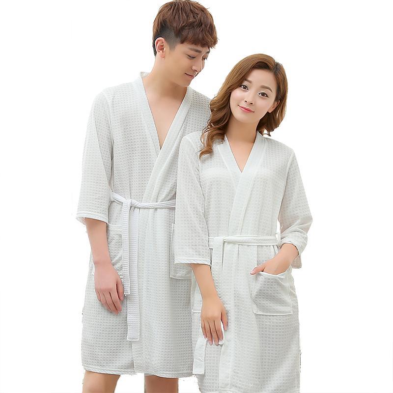e28ca6d3cb6 Spring Summer Bathrobes Men And Women Sleeve Thin's Nightgowns &  Sleepshirts Autumn Pajamas Mid-length