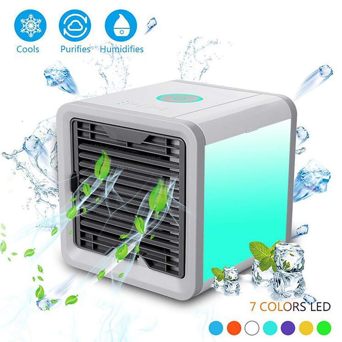 Air Conditioner Fan Personal Space Air Cooler Desktop Fan Mini Air Circulator Purifier Cooler with Portable Handle and Night Light for Home Room Office Outdoors Blue