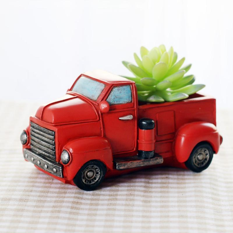 Retro Truck Cars Small Potted Plant Desktop Truck Cars Ceramics Flower Pots Home Garden Decoration Red