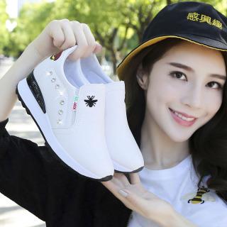 Mùa Xuân Thu Mẫu Mới Đế Dày Bên Trong Giày Độn Đế Kim Cương Nhân Tạo Một Giày Lười Giày Trắng Giày Du Lịch Thông Dụng Giầy Thể Thao Giày Nữ thumbnail
