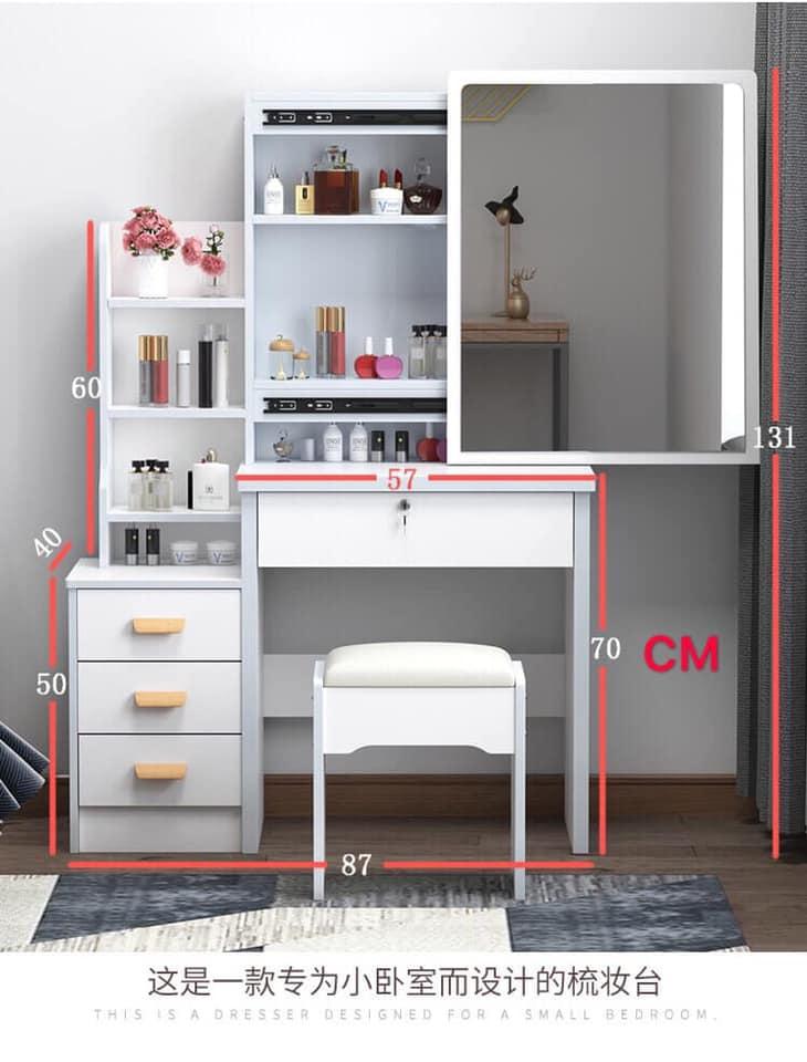 Kk Modern Dressing Table Stool Bedroom Vanity Dresser Set Makeup Drawer Lock Desk With Mirror And 4 Drawers Lazada Ph