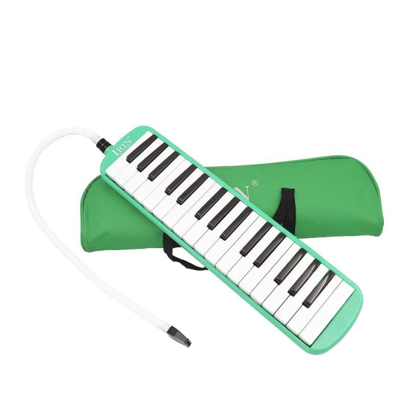 32 Piano Keys Melodica Musical Education Instrument for Beginner Kids Children Gift with Carrying Bag Green
