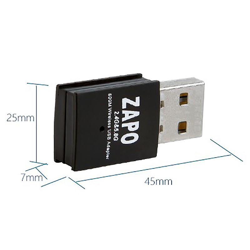 Giá Zapo W58 Mini 5Ghz Wifi Usb 600Mbps Lan Adapter Dual Band Wireless 802.11Ac Network Card Built in Antenna for Windows Linux Systems