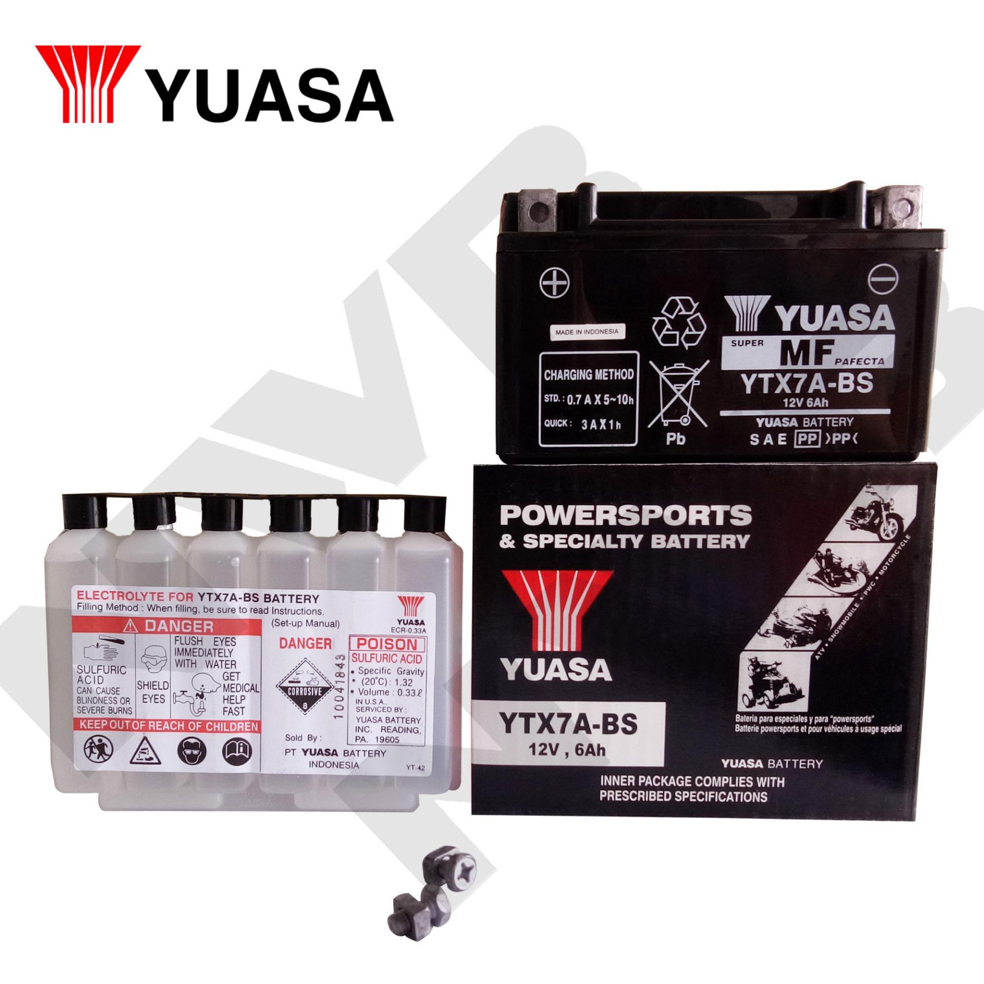 YUASA YTX7A-BS Motorcycle Battery (12V-6Ah) Made in Indonesia