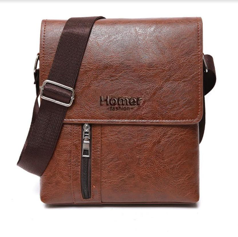 Homer Premium Zip Leather Men Sling Shoulder Messenger Bag By Homer Trading.