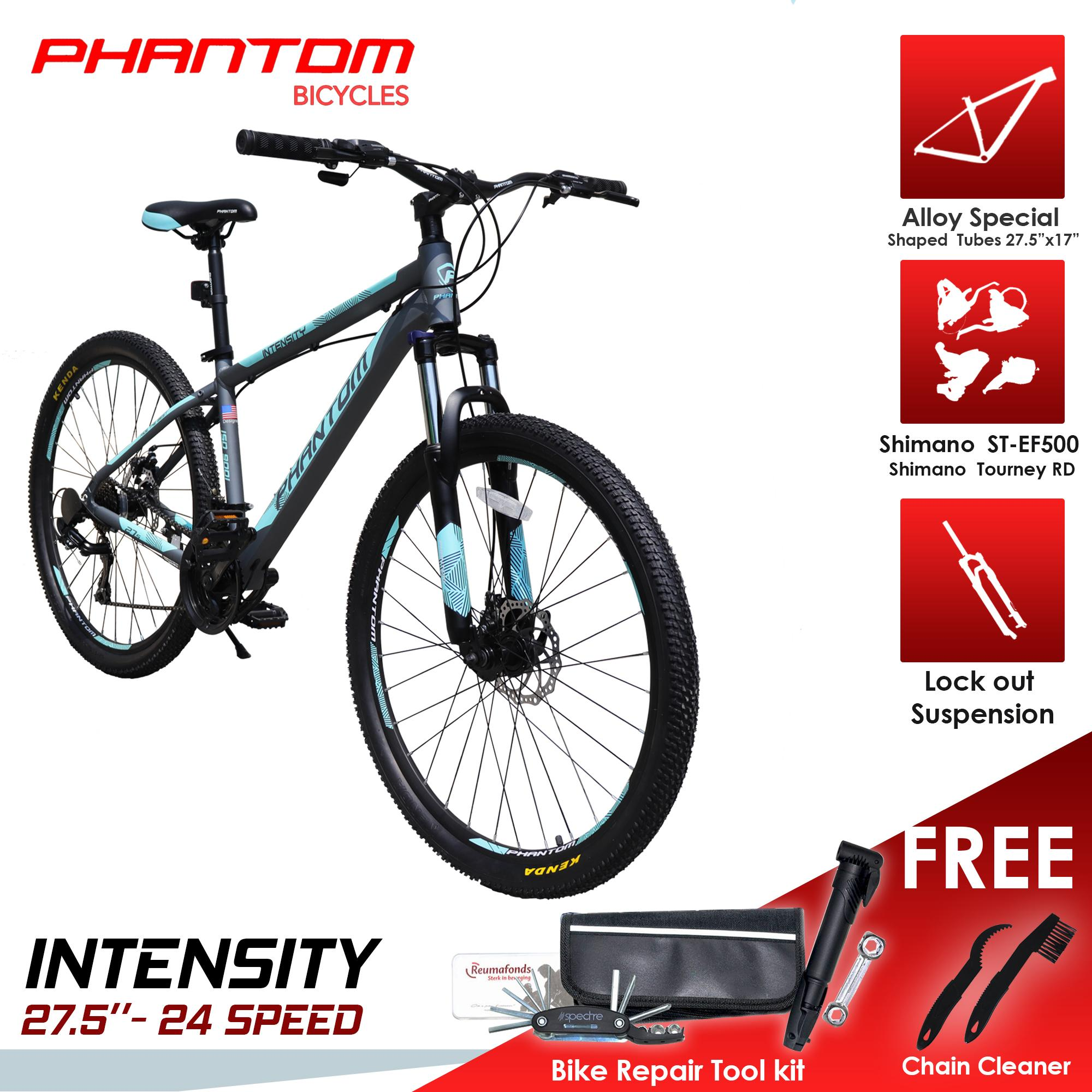 "PHANTOM INTENSITY 27 5""- 24 SPEED ALLOY FRAME Mountain Bike with FREE BIKE  REPAIR TOOL KIT and 2 in 1 CHAIN CLEANER"