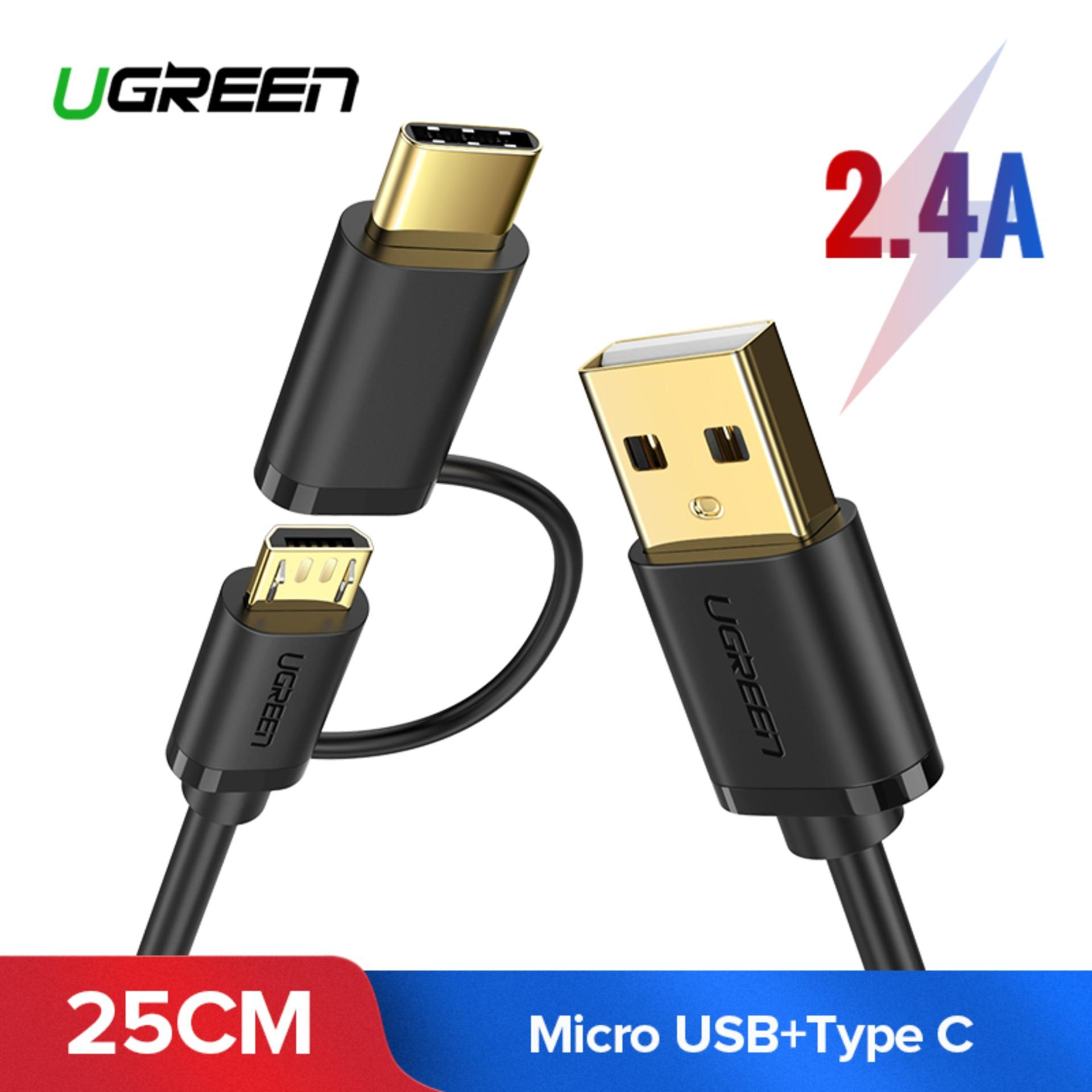 UGREEN 0.25Meter 2 in 1 Micro USB and USB Type C Fast Charging Cable for Huawei Nova /Xiaomi A1/A2/Mi 6/Mi 8/Pocophone f1/One Plus/Asus/Samsung Phone-Intl