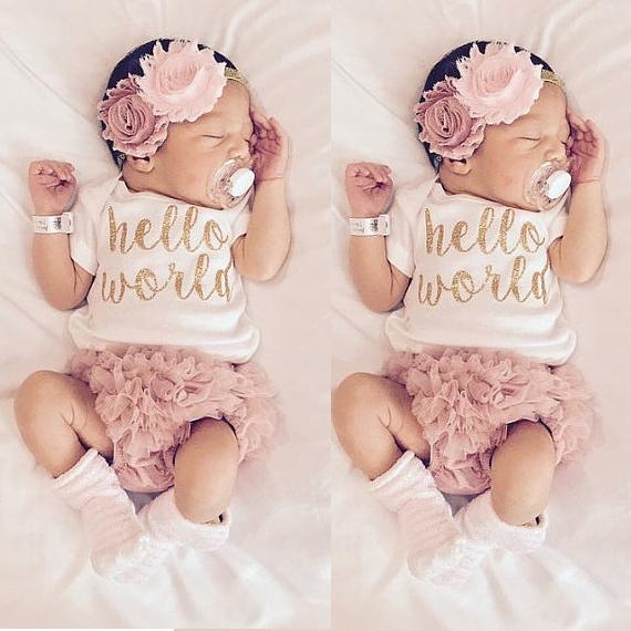304fe780c3af 3pcs NewbornToddler Infant Baby Girls Hello World Romper Jumpsuit Shorts Pants  Outfit+Flower Headband Pink