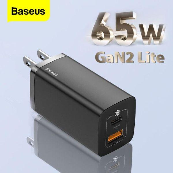 Baseus US /CN Plug 65W GaN2 Lite Quick Charger Type-C + USB Plug Phiên bản nâng cấp Hỗ trợ nhiều lần sạc nhanh cho iPhone12 Xiaomi Macbook Pro Samsung Wall Charger