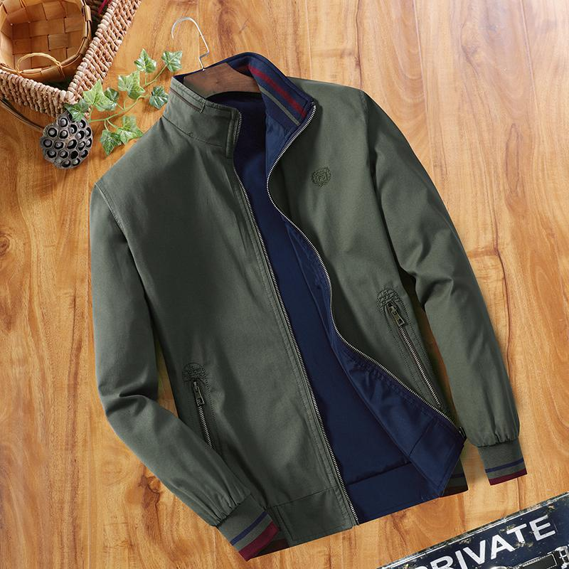 Spring Double-Sided Jacket man Middle-aged Thin Pure Cotton Stand Collar  Loose Cotton 0a14b8aebf13