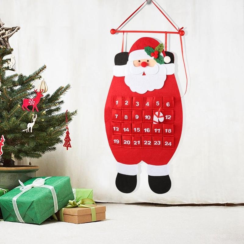 Santa Christmas Advent Calendar,3D Felt Hanging Advent Calendar Reusable Countdown to Christmas Calendar for Kids Christmas Decorations