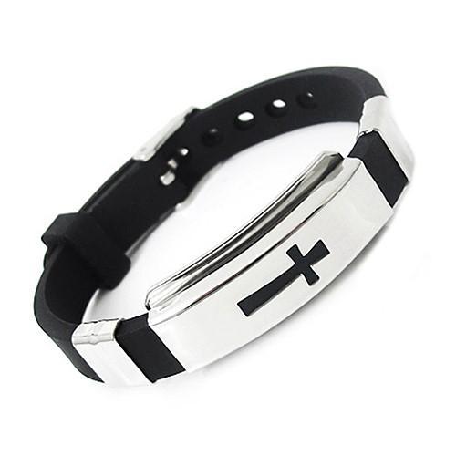Bodhi Men S Women Stainless Steel Bracelet Cross Black Rubber Bangle Jewelry