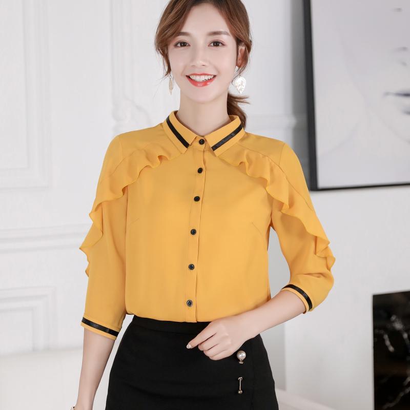 Caidaifei เสื้อผ้าแฟชั่น เสื้อผ้าแฟชั่น 2019 ฤดูใบไม้ผลิและฤดูร้อนใหม่สไตล์เกาหลีสลิมเข้าได้หลายชุดแลดูผอมเสื้อชีฟองสีเดียวแฟชั่นเสื้อเชิ้ตลำลองหญิง By Taobao Collection.