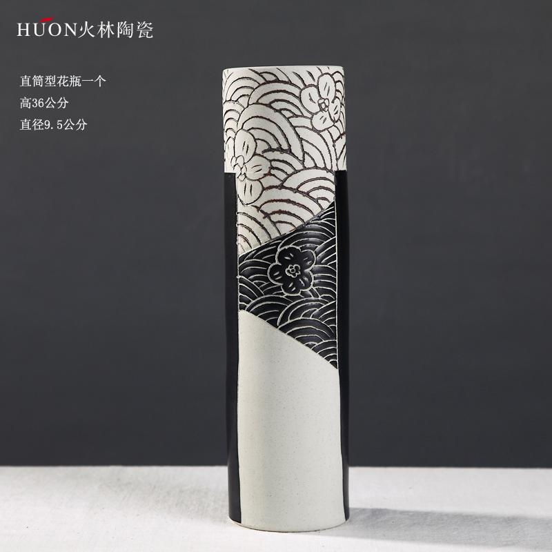Modern Minimalist Ceramic Vase Dried Flower Container Decoration New Chinese Style Northern Europe Living Room TV Cabinet 58 Accessories