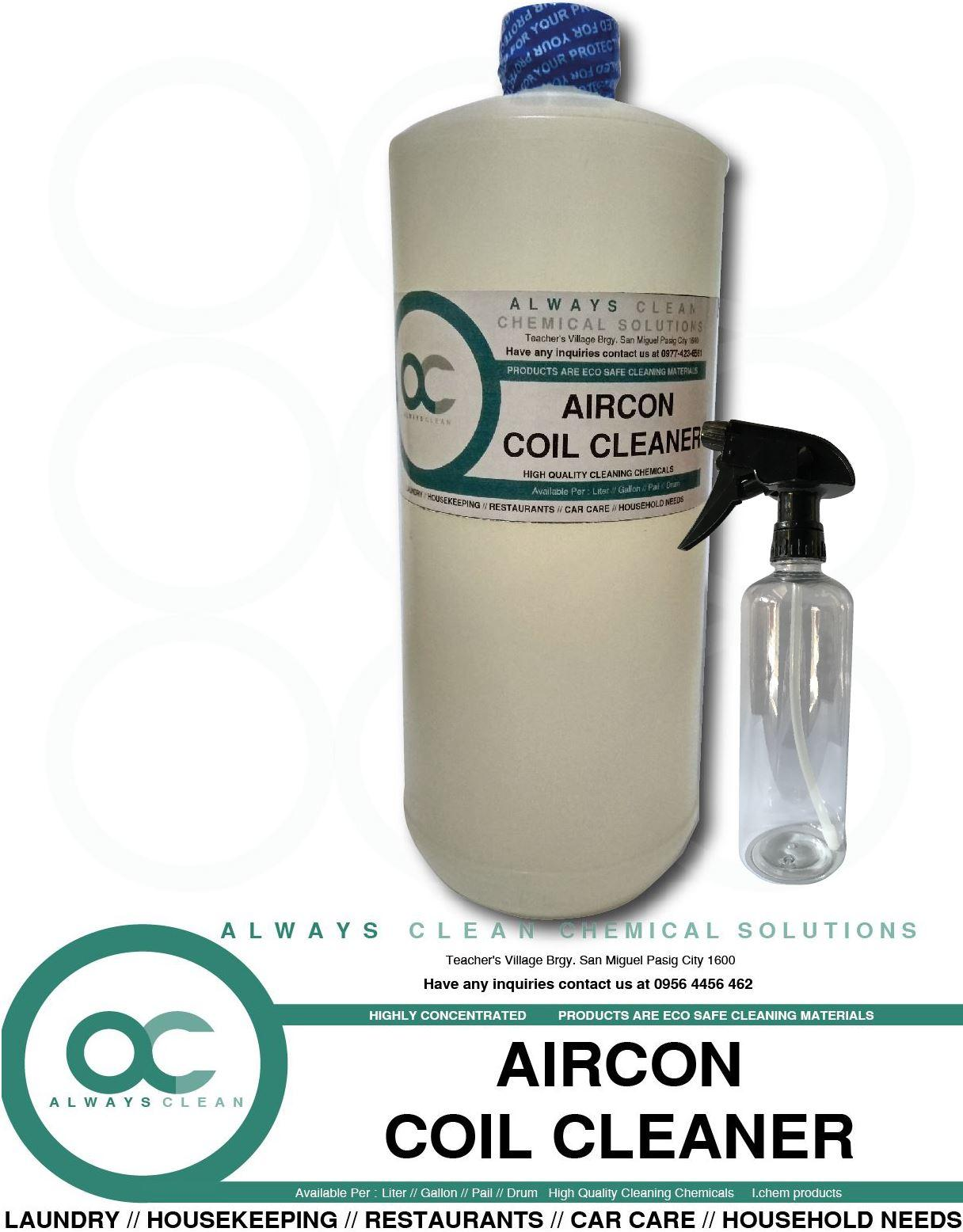 AIRCON COIL CLEANER LITER ALWAYS CLEAN WITH SPRAY BOTTLE