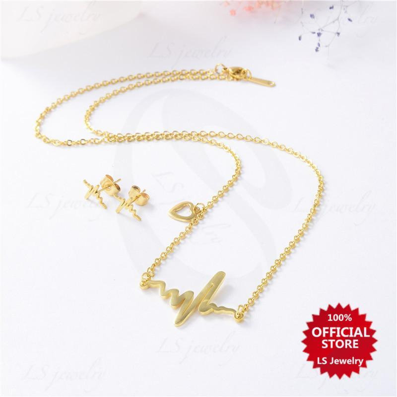 f3673634f LS jewelry Fashion 14K Gold plated Stainless steel necklace and earrings  set N0032-SET
