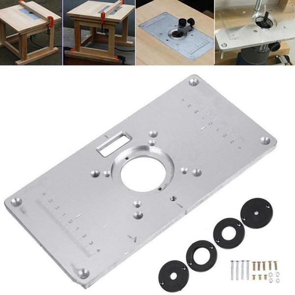 Router Table Plate 700C Aluminum Router Table Insert Plate + 4 Rings Screws for Woodworking Benches, 235mm x 120mm x 8mm(9.3inchx4.7inchx 0.3inch)