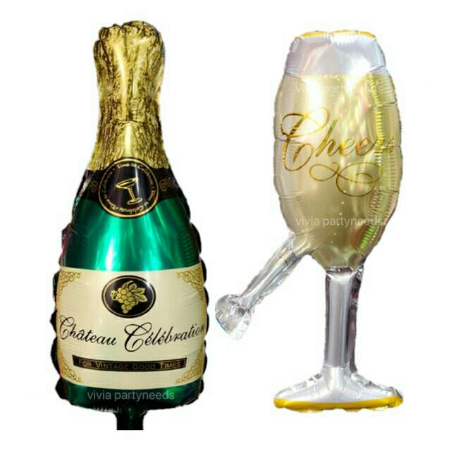 Champagne Bottle Wine Glass Mini Foil Balloon (14) By Ah K Asta Store.