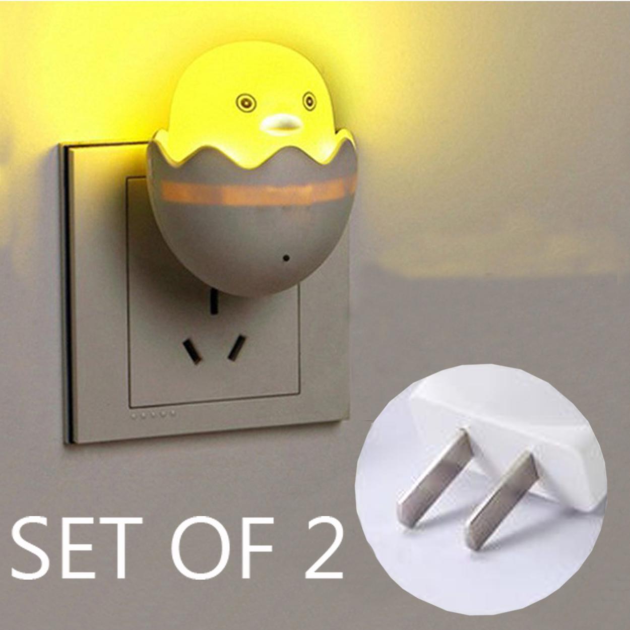 9ecb435011cd Set OF 2 Yellow Duck LED Night Light Sensor Control Bedroom Wall Lamp US  Plug