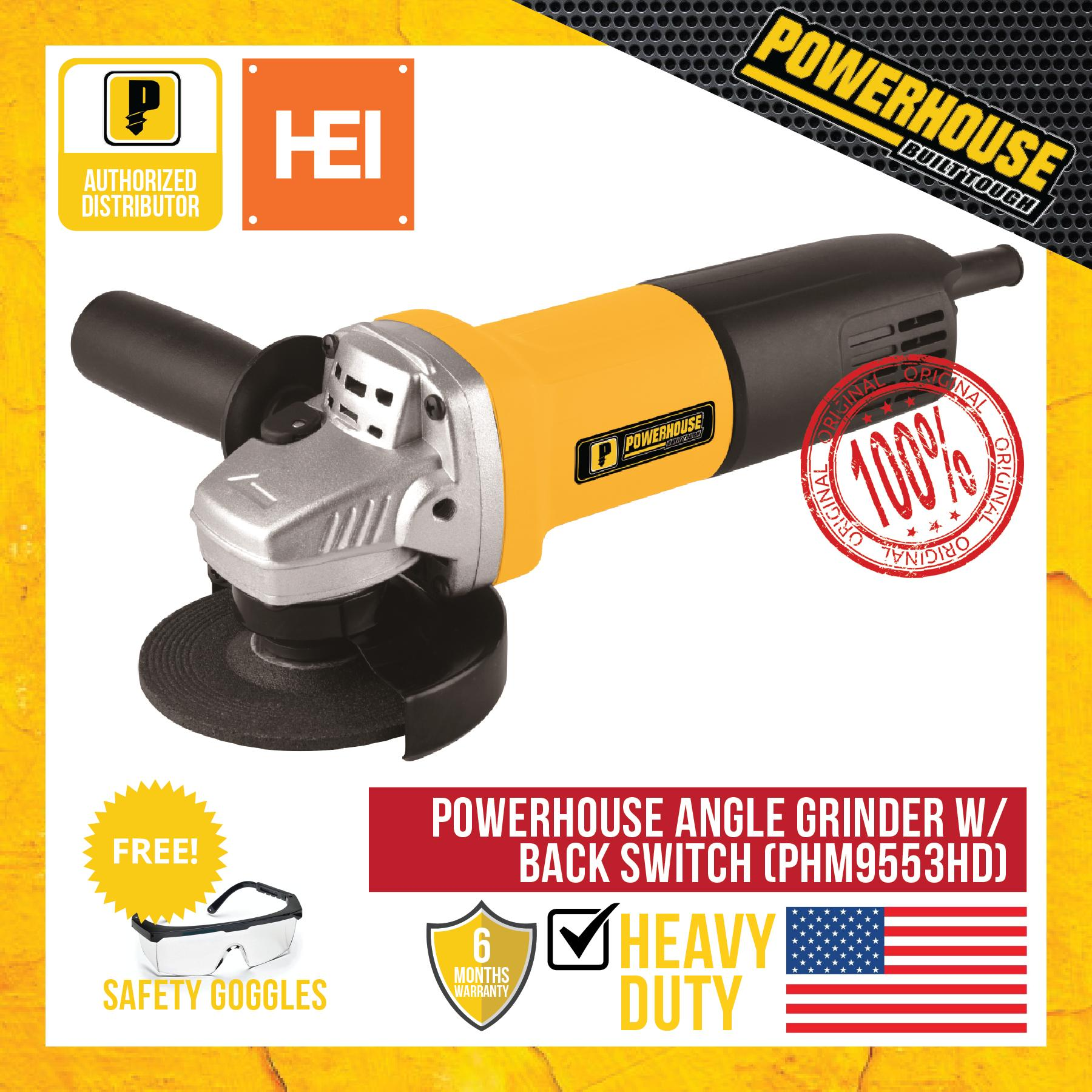 Powerhouse Angle Grinder W/ Back Switch 800W (PHM9553HD) - FREE SAFETY  GOGGLES