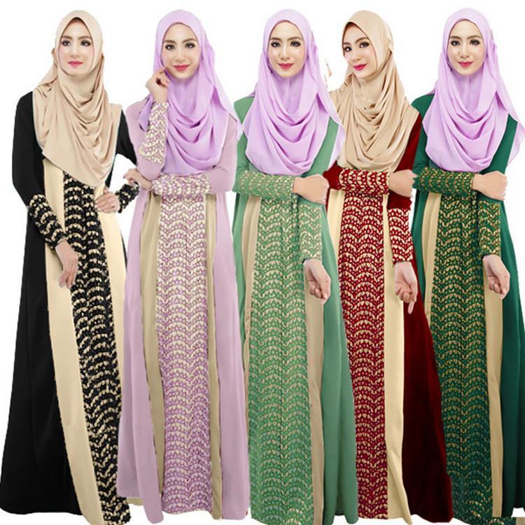 5a14eeeec3ea1 New Muslim Maxi Dress Fashion Hollow Islamic Costume Headscarf Black Abaya  Dress Arabian Women Malaysia Dubai Abaya Prayer Muslim Dress