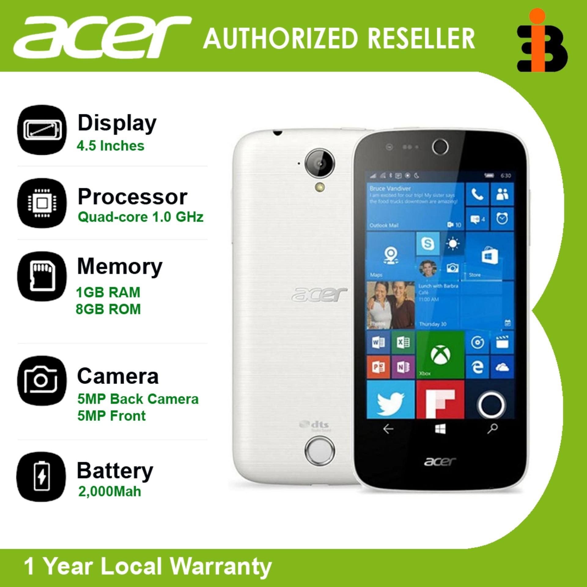 "Acer Liquid M330 4.5"" Internal 8GB+1GBRAM,Main Camera 5MP+Selfie 5MP, OS Microsoft Windows 10, CPU Quad-core 1.0 GHz  Li-Po 2000mAh battery With 1 Year Local Warranty Authentic/Original Mobile Phone"