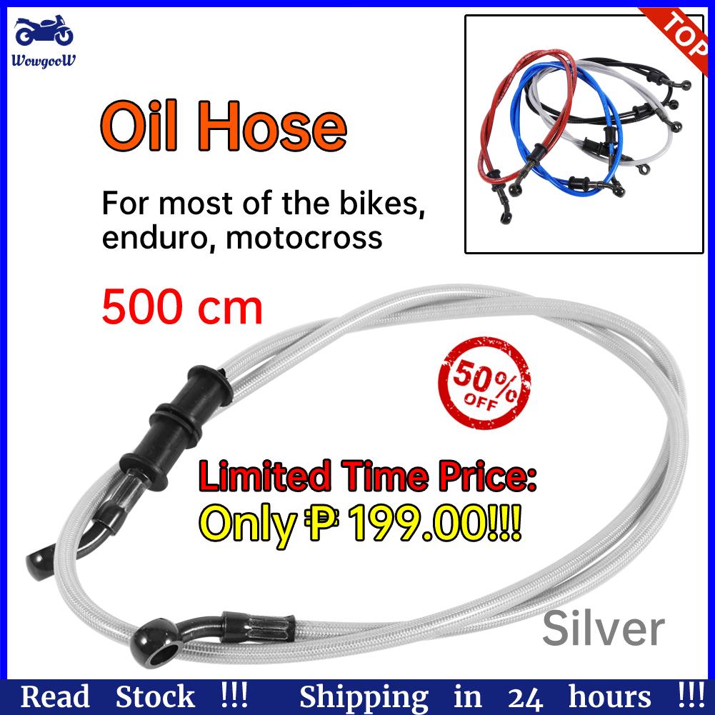 120cm Motorcycle Oil Hose,Braided Steel Brake Clutch Line Pipe Colorful 50cm 500mm-Black