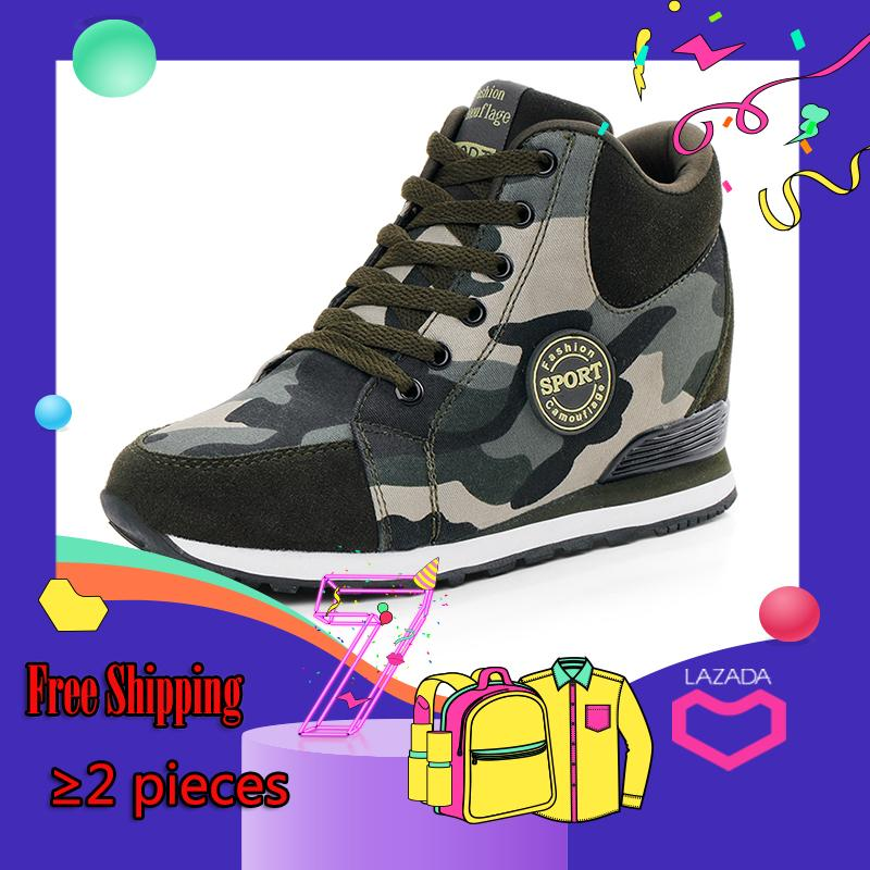 e942af6cfd TXTY Fashion Women Camouflage Wedges Casual 6.5 CM High Canvas Hidden Heel  Shoes Sneakers Free Gift