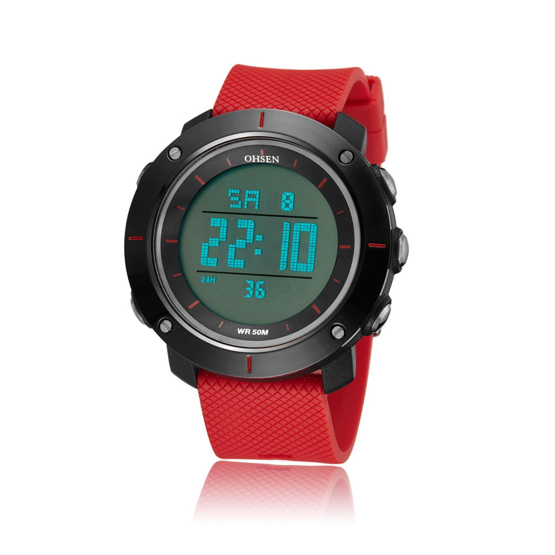 d09d9d800bf Ohsen 1611 Men s Digital Time Sport Day Date Quartz Silicone Wrist Watch  (Red)