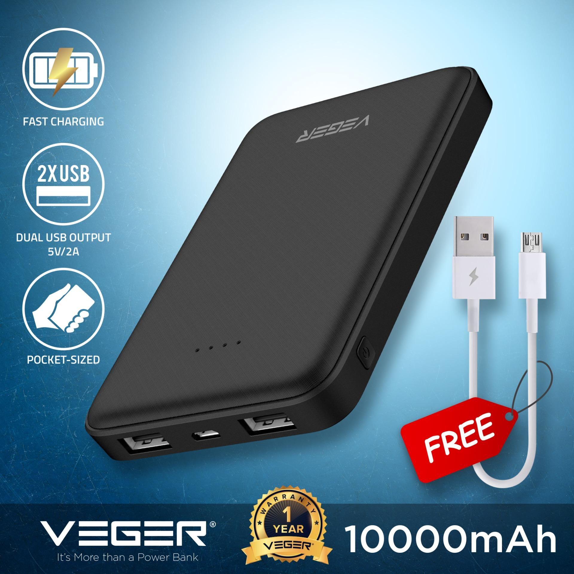 VEGER VP1018 10000mAh Power Bank Slim Pocket Style Mini Powerbank Micro USB  2 0A Input 2 0A Dual USB Output External Battery Compact Portable Charger