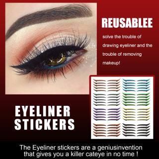 JETANG2 5 Đôi Tấm Dụng Cụ Làm Đẹp Cho Nữ, Bút Kẻ Mắt Tự Dính Nhiều Màu Miếng Dán Hai Mí Tái Sử Dụng Miếng Dán Kẻ Mắt Dụng Cụ Mí Mắt Phụ Kiện Trang Điểm thumbnail